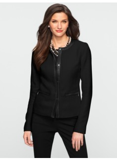 Textured Tweed Faux-Leather Trim Jacket