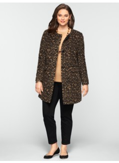 Brushed Animal-Jacquard Long Jacket