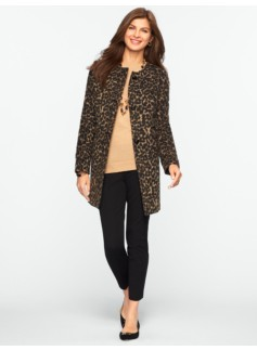 Brushed Animal-Jacquard Long Jacket