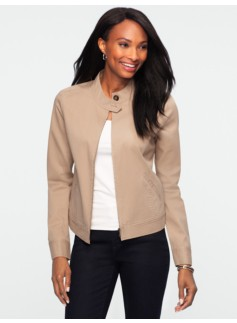 Band-Collar Twill Jacket