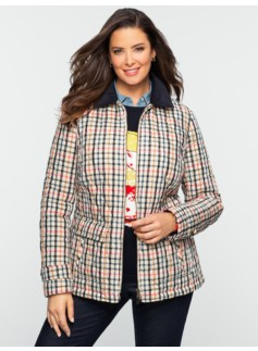 Quilted Plaid Zip-Front Coat