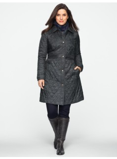 Spotted Snake Print Snap-Front Quilted Coat