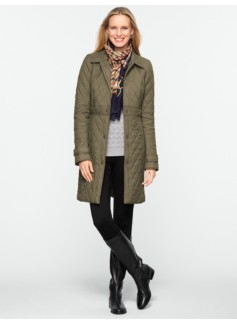 Snap-Front Quilted Coat