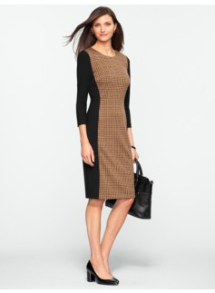 Blocked Houndstooth Ponte Dress