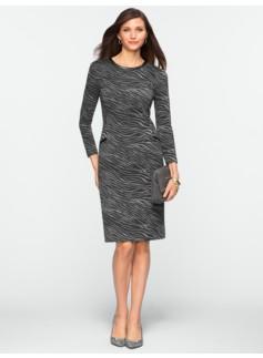 Wave-Print Ponte Dress