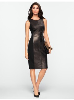 Leather & Ponte Blocked Sheath
