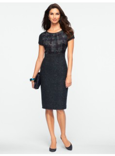 Plaid & Sparkle Tweed Dress
