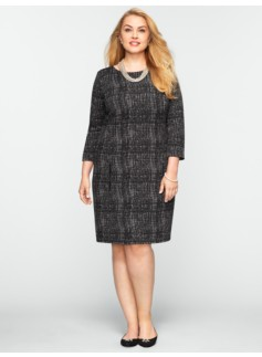 Painted-Grid Ponte Dress
