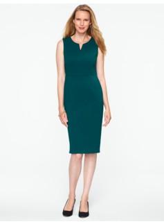 Double-Weave Notched-Bateau Dress