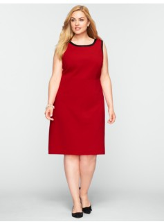 Faux-Leather Trimmed Ponte Dress