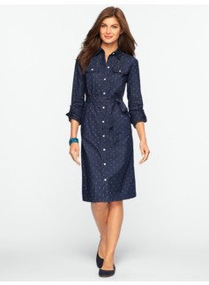 Diamond-Print Marine Wash Denim Shirtdress