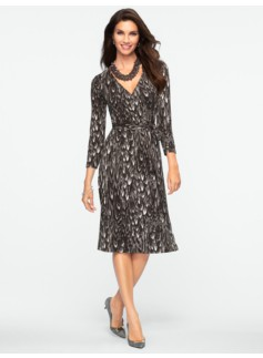 Tonal Feather-Print Dress