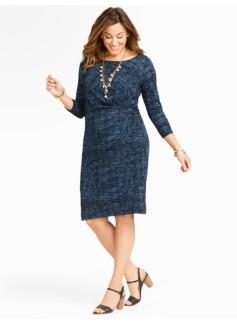 Tweed Print Ruched Dress
