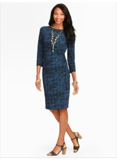 Tweed Print Ruched Dress