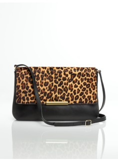 Leather & Haircalf Top-Flap Shoulder Bag