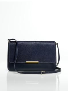 Leather & Haircalf Top-Flap Shoulder Bag