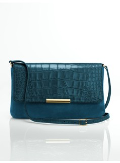 Leather & Croc-Embossed Top-Flap Shoulder Bag