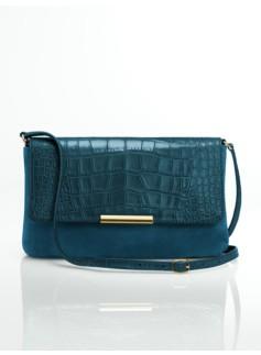 Leather & Croc-Embossed Top-Flap Shoulder Bag