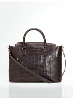 Croc-Embossed Leather Double-Handle Satchel