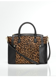 Leopard Haircalf & Leather Double-Handle Satchel