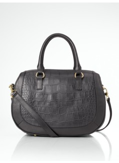 Croc-Embossed Leather Doctor Satchel
