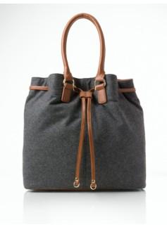 Flannel Drawstring Shoulder Bag
