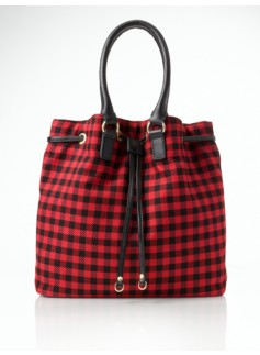 Buffalo Plaid Flannel Drawstring Shoulder Bag