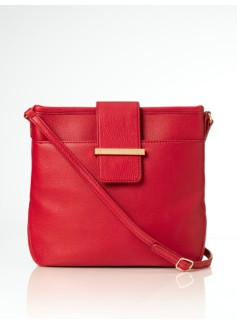 Pebbled Leather Top-Tab Crossbody Bag