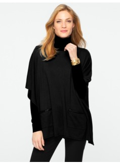 Faux-Leather-Trimmed Patch-Pockets Poncho