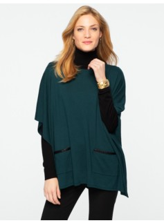 Faux-Leather-Trimmed Patch-Pocket Poncho