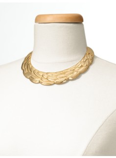 Feather-Textured Collar Necklace
