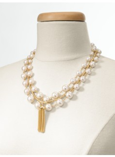 Pearl Link & Rope Tassel Necklace
