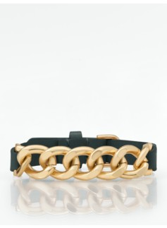 Curb-Link & Leather Bracelet