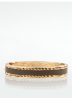 Leather-Inlay Gold Cuff