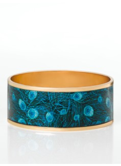 Peacock-Feather Enamel Bangle