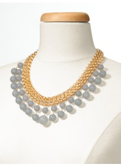 Bead-Drop Woven-Mesh Necklace