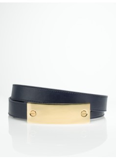 Leather Brass Buckle Reversible Belt