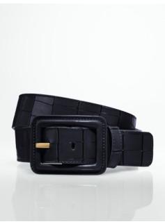 Croc-Embossed Covered-Buckle Belt