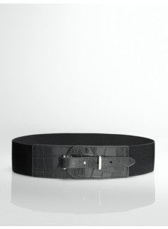 Croc-Embossed Leather Stretch Belt