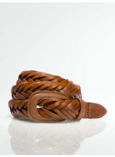 Womans Leather Braided Belt