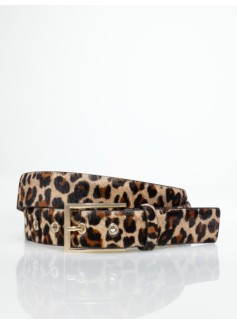 Womans Plus Leopard Haircalf Leather Belt
