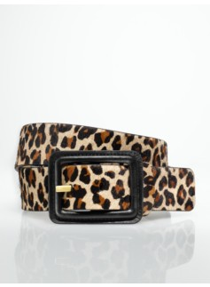 Womans Haircalf Covered-Buckle Belt