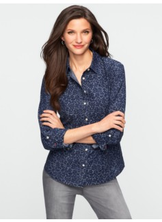 Leopard-Print Chambray Shirt