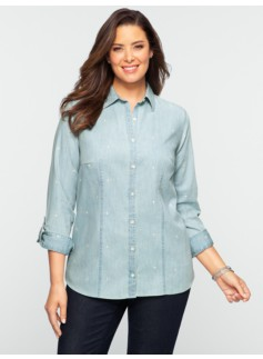 Fleur-De-Lis Embroidered Denim Shirt