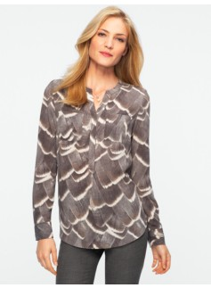 Feather-Print Banded-Collar Henley Shirt