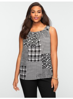 Houndstooth & Plaid Patchwork Top
