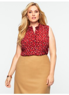 Washable Silk Ruffle Dot Top