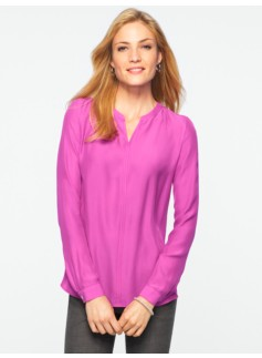 Banded-Collar Blouse