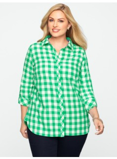 Sparkle Buffalo-Plaid Shirt
