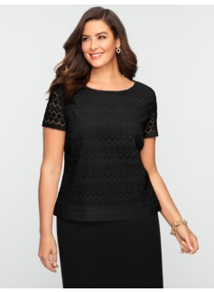 Faux-Leather Trimmed Diamond Lace Top